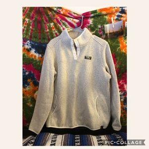 Men's tan L.L.Bean Sweater Fleece Pullover